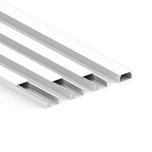Habengut Kabelkanal (mit Montagelochung im Boden) 30x15 mm aus PVC, Farbe: Weiß , Länge 4 m (4 Stück á 1 Meter)