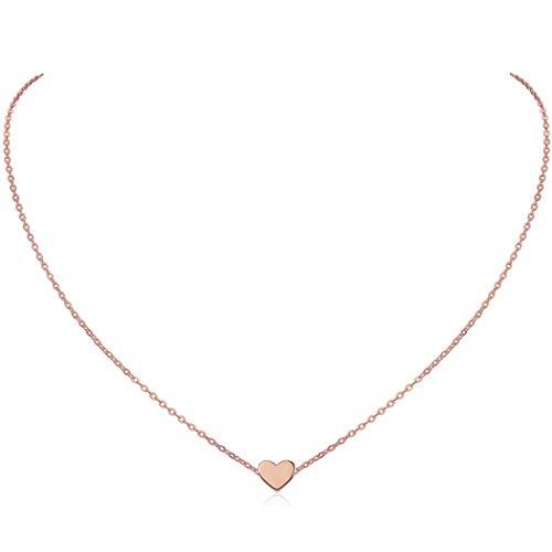 Colgante Corazón para Mujer de Clavícula Oro Rosa Rosado Cadena Romántica para Chica Muchacha Plata de Ley 925 Joyería Simple Elegante Delgada Regalo de Año Nuevo Madre