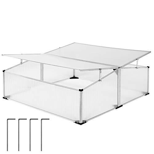 Gardebruk Mini Serra da Giardino 1,21m² 110x110cm Protezione UV Trasparente Alluminio Inossidabile policarbonato orto Piante Fiori terrazzo Balcone