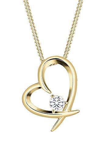 Elli Halskette Damen Herz Geschwungen mit Zirkonia Kristallen in 925 Sterling Silber