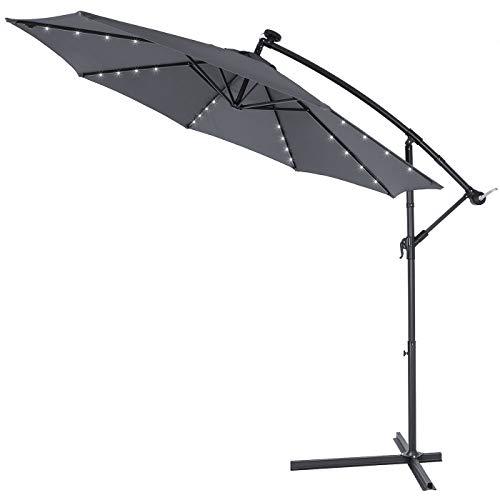 Kingsleeve - Parasol déporté en Aluminium Ø3m Haiti - éclairage 32 LED - Lampe Solaire - Anthracite - Protection, manivelle, Jardin, terrasse, Balcon, Soleil