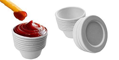 Bagasse Soßentöpfe zum Mitnehmen mit Deckel, 57 ml, 100 Stück Salatdressing-Behälter mit 100 Bagasse-Deckeln – Ideale Saucenbehälter und Delikatessen-Behälter für Takeaway und Lebensmittel-Lieferung