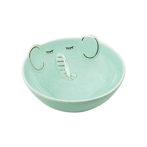 Chumbak Glad Elephant Teal Bowl - Ceramic Serving Dish, Dining and Tableware, Bowl for Side Dishes, Snacks, Cereal, Salad, Soup, Rice, Dessert, Dishwasher and Microwave Safe, Size 4.7'x4.7'x2.1'