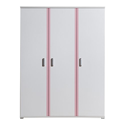 Vipack vakl1312Armadio Valentine, 3Porte, Circa. 151x 199x 59cm Bianco/Rosa