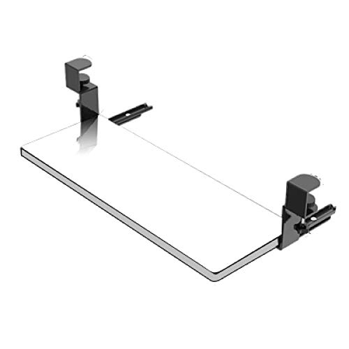 Wooden Desk Tray For Keyboard Pull Out with Extra Sturdy C Clamp Mount System Sliding Desk Tray Slide-Out Pull Out Keyboard Tray Under Desk - White,21x10in