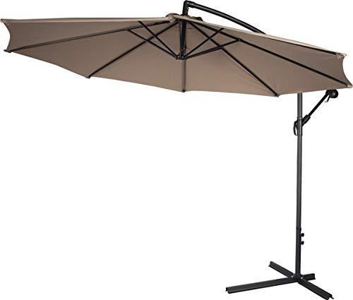 XtremepowerUS 10ft Offset Patio Umbrella Cantilever Outdoor Market Hanging Umbrellas and Crank w/Cross Base (Beige)