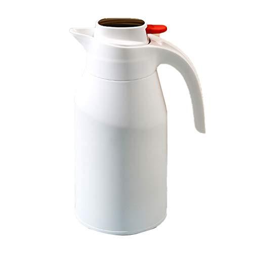 GAOYADS Jarra de café de Acero Inoxidable, carafé de té de vacío de Doble Pared, sin bpa - Frasco Termo de Acero Inoxidable para Deportes, Gimnasio, niños, Yoga, al Aire Libre - 2L (Color : White)