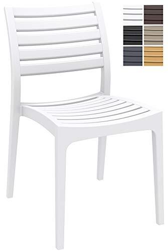 CLP Gartenstuhl ARES aus Kunststoff l Küchenstuhl belastbar bis 160 kg l Wasserabweisender, UV-beständiger Stapelstuhl, Farbe:weiß