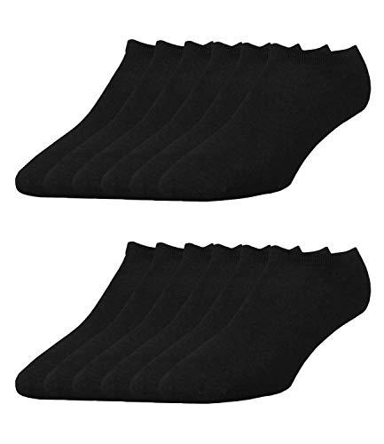 ELBEO Herren Sneaker-Socken Freizeitsocken 906609 12 Paar, Farbe:Schwarz, Menge:12 Paar (4x 3er Pack), Größe:39-42, Artikel:-9500 schwarz