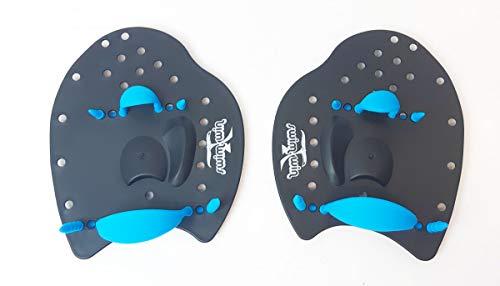 SWIMXWIN Palette PALMARI Power Nuoto Professionale Forma ergonomica Allenamento Piscina corredate da Elastico (Small, Nero/Blu)