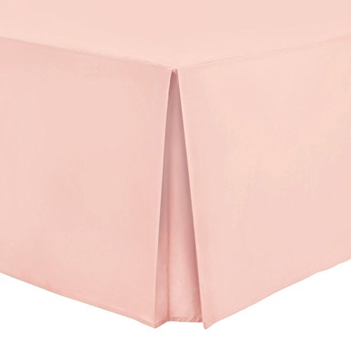 Tour de lit Uni chiné 100 % percale de coton , rose poudré, King
