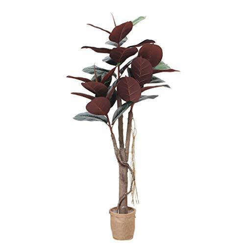 59 Pulgadas de Caucho Artificial Planta del árbol de Ficus Elastica Faux árbol Utilizado for la decoración de Interior púrpura 150cm / 4.9ft Simulación Plantas en macetas Grandes Plantas Bonsai