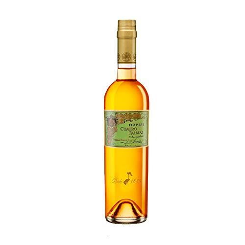 Vino amontillado Fino Cuatro Palmas de 50 cl - D.O. Jerez de la Frontera - Bodegas Gonzalez Byass (Pack de 1 botella)