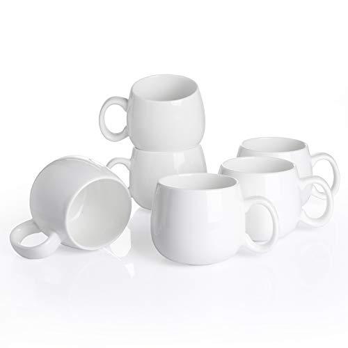 Panbado, Porzellan Kaffeetassen Weiß, 6 teilig 375 ml Tee Kaffee Tassen Set, Kaffeebecher, Milch, Tee Becher für Frühstück, Trinkbecher, weiß Modernes Design für Geschirr Tafel-Zubehör