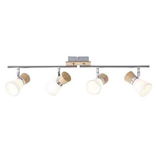 BRILLIANT lampe Nacolla spot tube 4 lumière bois clair/chrome/blanc | 4x D45, E14, 18W, adapté aux lampes à suspension (non inclus) | Échelle A ++ à E | Têtes pivotantes/bras pivotants