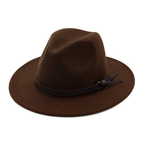 Ofgcfbvxd Ladies Top Hat Weiblicher Wollhut Klassischer Jazz-Top-Hut Einfacher Woolen fühlte große Krim-Hut Ladies Banquet Top Hat (Color : Brown, Size : 58cm)