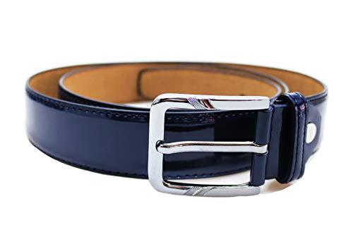 Evoga Cintura elegante uomo vernice ecopelle business cerimonia (Blu lucida #1)