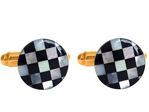 Gemshine - Co-3257CB - Boutons de manchette - Or 14 plaqué carats (585) - Lapis - Lazuli - Nacre
