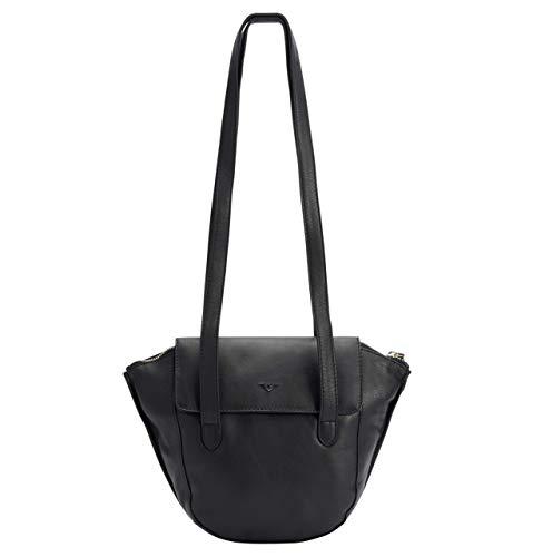 Voi Damen Überschlagtasche Francesca 21538 Handtasche aus hochwertigen Leder Schwarz