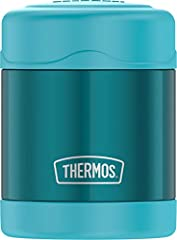 THERMOS vacuum insulation technology for maximum temperature retention, hot or cold Durable stainless steel interior and exterior Wide mouth is easy to fill, serve from and clean Keeps cold for 7 hours and hot for 5 hours; stay cool exterior 10 ounce...