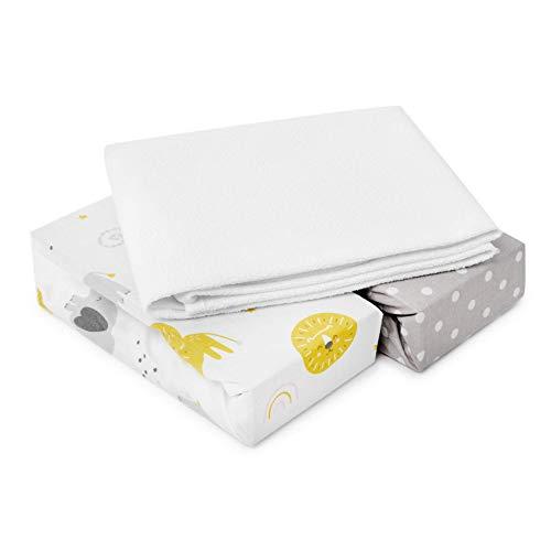 FlyIdeas Spannbettlaken für Beistellbett 90x55 cm - 2 Spannbettlaken + 1 Wasserfester Matratzenschoner | Sie Passen Babybettchen Waldin Alvi Babybay Fabimax NESTE Fillikid - OEKO-TEX 100% Baumwolle