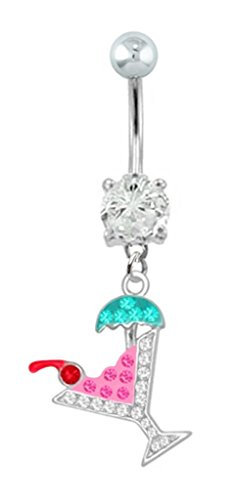 Pink & Clear cz Cocktail party drink dangle Belly button navel Ring piercing bar jewelry 14g