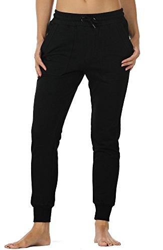 icyzone Damen Jogginghose Baumwolle Lang Sporthose Casual Basics Sweathose (M, Black)