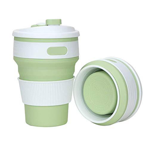 YWJFASHION Multifunción de Silicona Plegable Taza de Fugas a Prueba de Fugas Taza de Viaje Reutilizable para Gimnasio para Acampar al Aire Libre (Color : Green)