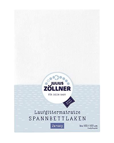 Julius Zöllner 8390347100 Jersey Spanntuch, passend für Laufgittermatratzen 68x90 bis 100x100 cm, Weiß