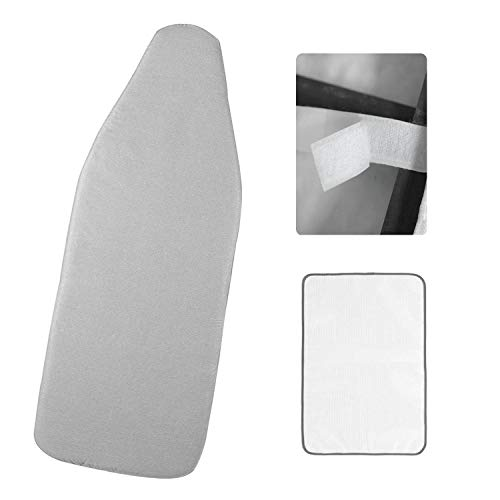 Refrze Small Ironing Board Cover and Pad 12.5x30in, Fits Small Ironing Board, Elastic Mini Ironing Board Cover with Straps, Thick Padding, Scorch and Stain Resistant, Silver