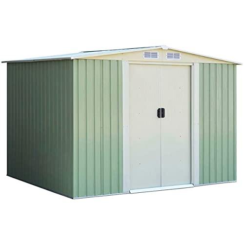 GYMAX Metall Gerätehaus mit geräumigem Stauraum, Wetterbeständiges Gartenhaus mit Satteldach, Geräteschuppen mit 2 Schiebetüren & 4 Lüftungsfenstern, 257 x 205 x 175,5 cm, für Outdoor, Grün+Weiß