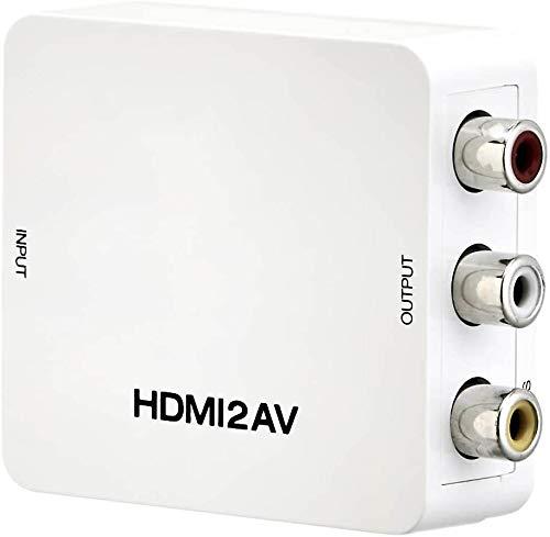 Convertidor HDMI a RCA. Adaptador de convertidor de audio de vídeo compuesto de 1080P Mini HDMI a AV 3RCA CVBs, compatible con PAL/NTSC para TV, PS4 Xbox, interruptor, TV Stick, Blu-Ray y DVD y más