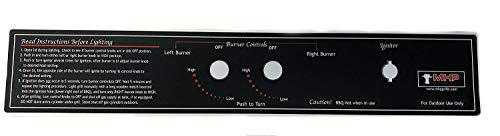 "Modernhome MHP Gas Grill JNR Control Panel Black Label 17 3/4"" x 3 1/8"""