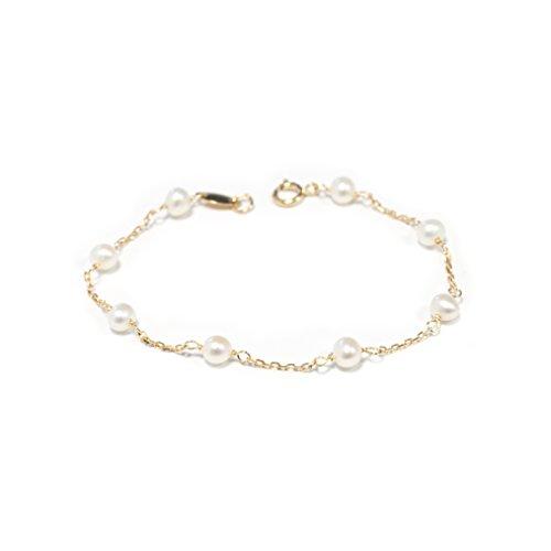 Monde Petit G1225PU - Pulsera Bebe Oro 18 Kts. de perlas con cadena