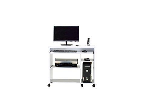 Jahnke CU-LIBRE 90 HG-WS Computer-Tisch, E1-Holzwerkstoffplatten, beschichtet, hochglanz / weiß, 88,5 x 48 x 77 cm