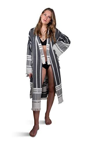 ZusenZomer Bademantel Kimono Sommerkleid Kaftan AZA | Für Damen | Elegant, dünn und leicht | Hochwertige Qualität, handgewebt, 100% Baumwolle - schwarz weiß