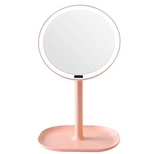 XZYP sminkspegel sminkspegel 32 lampor 7 fack förstoring fyllning spegel, induktion LED-sminkspegel med belysning, bärbar desktop-makeup-vikning, rosa