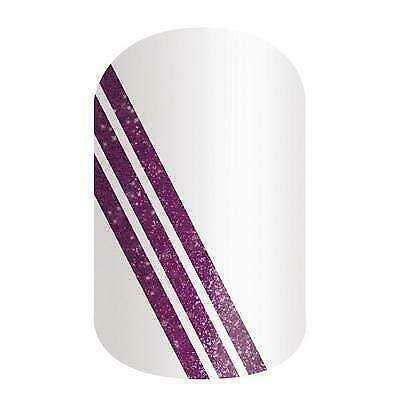 NO WORRIES - Jamberry Nail Wraps - Half Sheet - Purple Sparkle Stripe on White