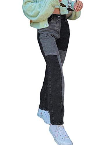 Shownicer Damen Jeans Patchwork High Waist Stretch Locker Lang Boyfriend Jeans Straight Leg Denim Jeans Hose Vintage Pants Jeanshose C Grau M