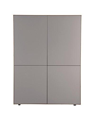 Meuble Armoire Taupe Mat et décor chêne - Placard 4 Portes - Design Moderne - Qualité Excellence - Omega