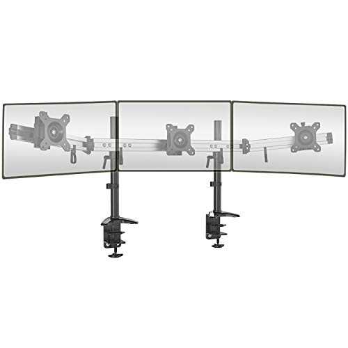 """Triple Monitor Arm Stand for 15-27"""" LCD LED Screens - Three Arm Desk Mount Bracket with Clamp - Ergonomic ±15° Tilt & 360° Rotation Arms - VESA: 75/100, Up to 8kg per Arm"""