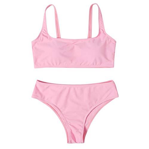 NISOWE Conjunto de bikini de cintura alta para mujer, diseño de rayas push-up, traje de baño de dos piezas Rosa. M