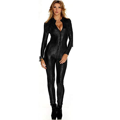 JYCDD Women Patent Leather Jumpsuit, Snakeskin Sexy Party Adult Cosplay Fancy Tight Costumes Dance Clothes Nightclub DS Dance Motorcycle Clothing,Black,M