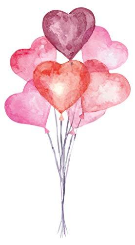 dekodino® Wandtattoo Aquarell Herz Luftballons Wandsticker