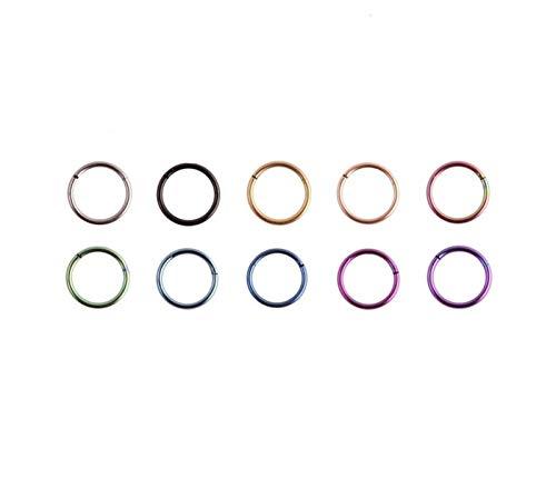 FQDQH 1 anillo de segmento para nariz, accesorios para el cuerpo de las mujeres (color: Multi, color metálico: 16G 6 mm)