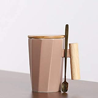 FYBIN 380ml Wood Handle Ceramic Coffee Mug Creative Polygonal Office Home Milk Tea Cup For Gift (Color : Pink Set)