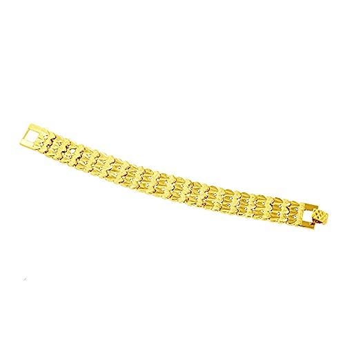 3 filas corazón pulsera hombres mujeres 16mm grueso joyería 18k oro amarillo plateado accesorios clásicos
