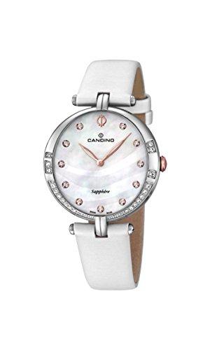 para Mujer Candino Reloj Infantil de Cuarzo con Esfera de Madreperla analógica y Correa de Piel Color Blanco C4601/2