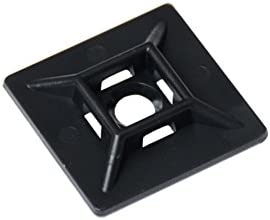 20 x 20 mm Cable Tie Adhesive Pads Black Pack of 100