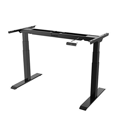SANODESK Premium Line - elektrisch stufenlos höhenverstellbarer Schreibtisch mit Kollisionschutz, Memory-Steuerung und Softstart/Stop Funktion (Schwarz)…
